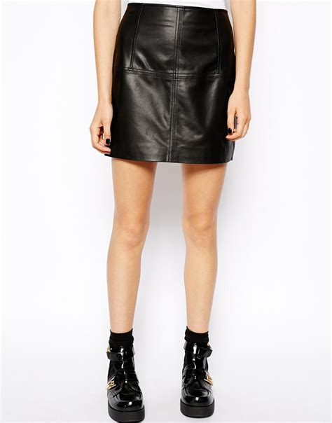 asos mini skirt in leather in black lyst