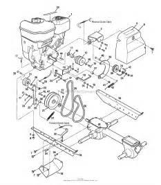 troy bilt 12225 tuffy tiller parts diagram for engine engine brackets and belt drive systems