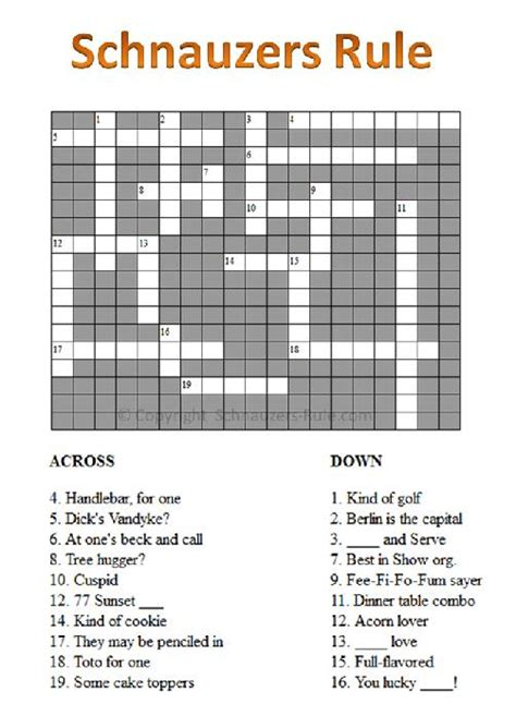 section of a play crossword clue free online games for schnauzer lovers