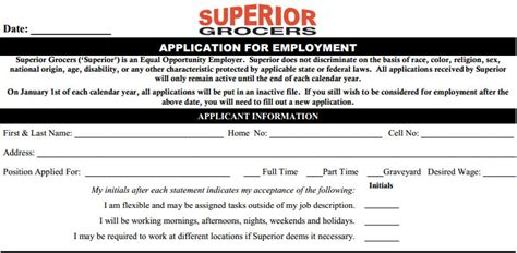 express printable job application superior grocers job application printable job
