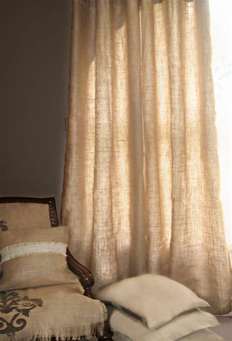 Lined Burlap Curtains 1 40x76 With Grommets Burlap Curtains Or By Earthyvintageboutiqu
