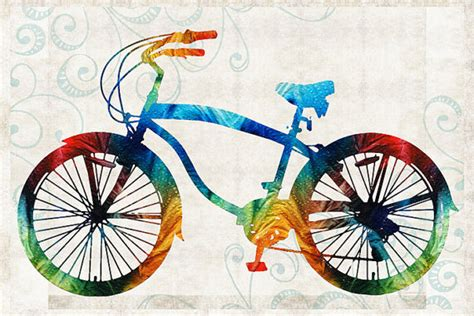 bike painting bike print from painting bicycle cycle primary colors