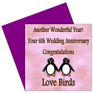 on your 6th wedding anniversary card 6 years iron anniversary rosie posie penguin design