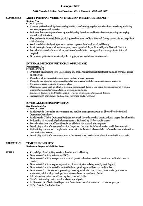 Physician Resume by Medicine Physician Resume Sles Velvet