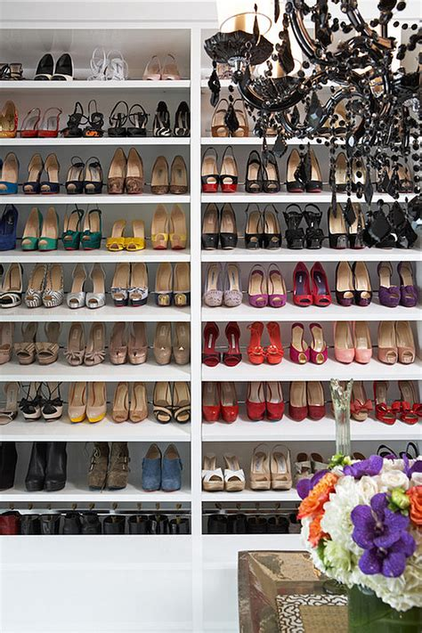 stylish shoe storage on shelves decoist