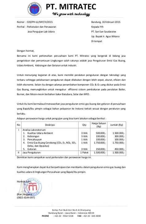 Contoh Surat Penawaran Penjualan Komputer by 020 Perkenalan Dan Penawaran Harga Lab Udara Pt San San