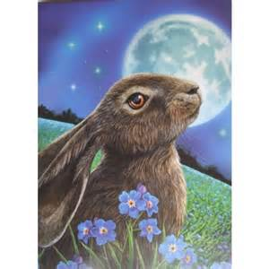 Decorative Envelope Seals Moon Gazing Hare Card By Lisa Parker