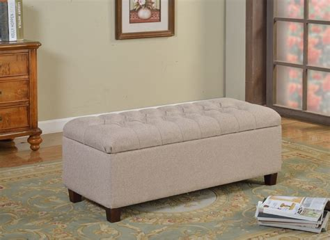 overstock bedroom benches kinfine large vanilla linen tufted storage bench contemporary upholstered benches