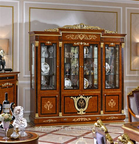 luxurious wooden carving showcase cabinet using clear 0038 european neo classice living room showcase design
