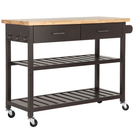 Kitchen Island Storage homegear deluxe kitchen storage cart island w rubberwood