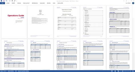 operations guide template  page ms word  excel