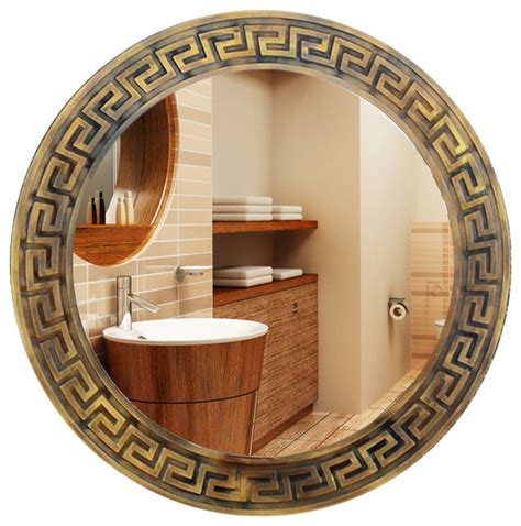 Distressed Kitchen Cabinet asian style round carved bathroom mirrors asian