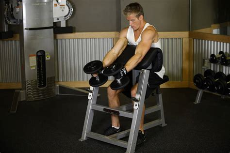 preacher bench exercises preacher hammer dumbbell curl exercise guide and video