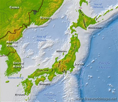 japan geography map japan physical map