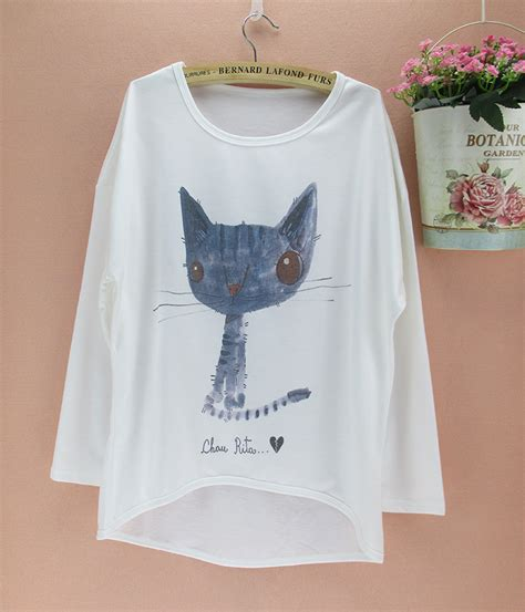 t shirt pattern for ladies lovely cat owl pattern t shirts women long batwing