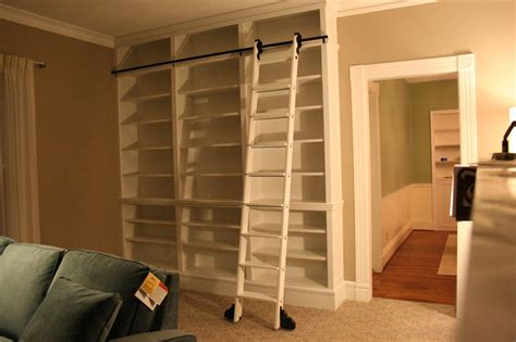 Bookcase With Rolling Ladder Do It Yourself Library Ladder