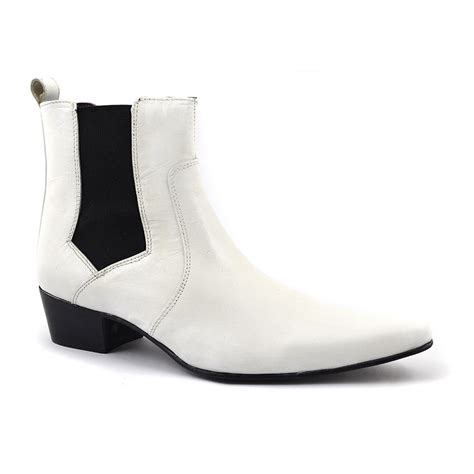 white boots for buy white heel chelsea boot cuban gucinari style