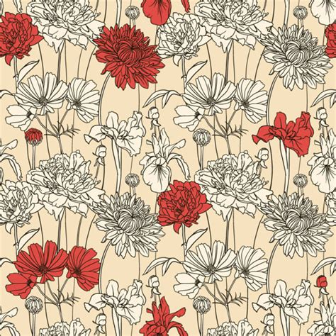 flower pattern to draw hand drawn flower pattern art vector 01 free download