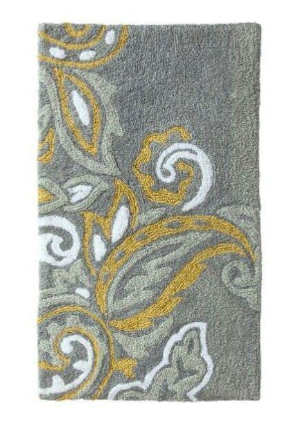 yellow and grey bathroom rugs