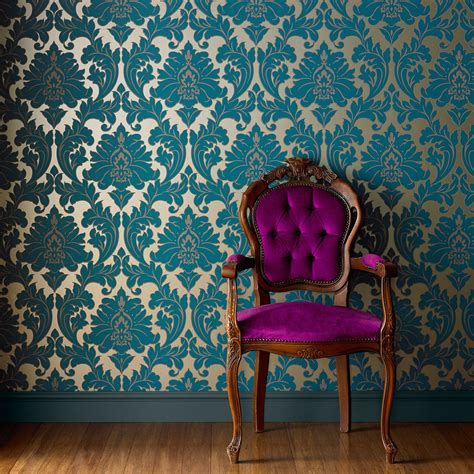Wallpaper Design Sles | majestic teal wallpaper damask wallpaper graham brown