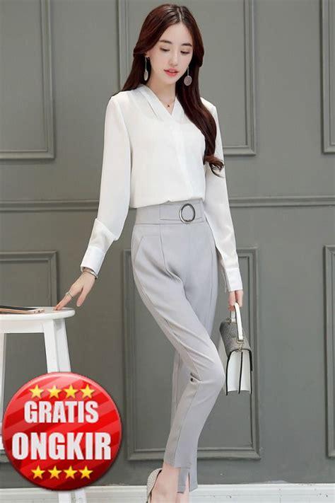 Black Lotus Shoulder Blouse Import Baju Wanita Style Korea busana kerja wanita celana kerja wanita import kemeja blouse wanita import baju korea