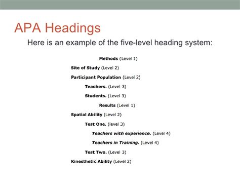 apa style guide level headings apa style exle reference