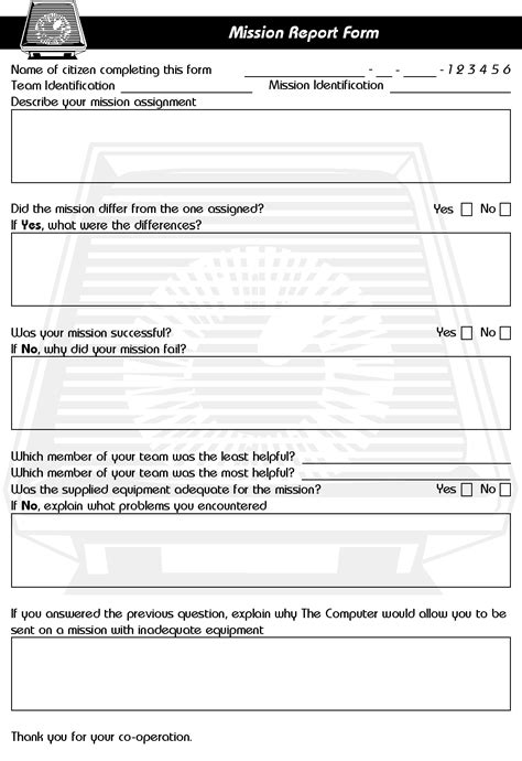 debriefing report template paranoia mission report form