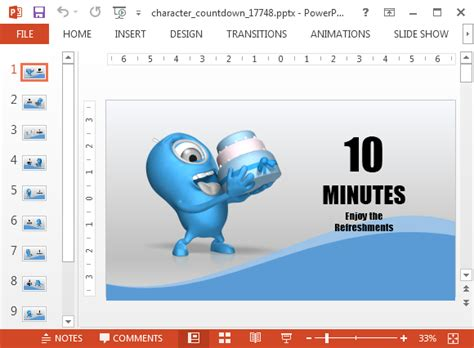 Countdown Powerpoint Template With 10 Minutes Timer 10 Minute Presentation Template