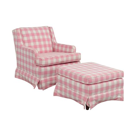 white chair and ottoman 82 pink and white plaid chair and ottoman chairs