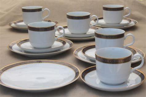 Cottage Garden China - kahla gdr germany porcelain demitasse coffee cups amp dessert plates set cobalt blue amp gold