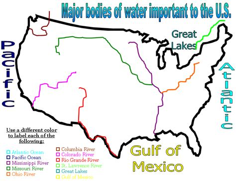 map of the united states with all bodies of water united states map with bodies of water ground water