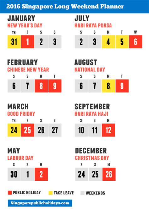 singapore public holidays 2016 6 long weekend in 2016