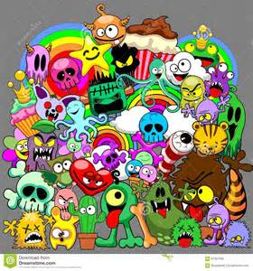 doodle characters monsters colored doodles monsters saga stock vector image 61337045