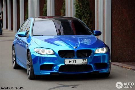 chrome blue wrapped bmw   autoevolution
