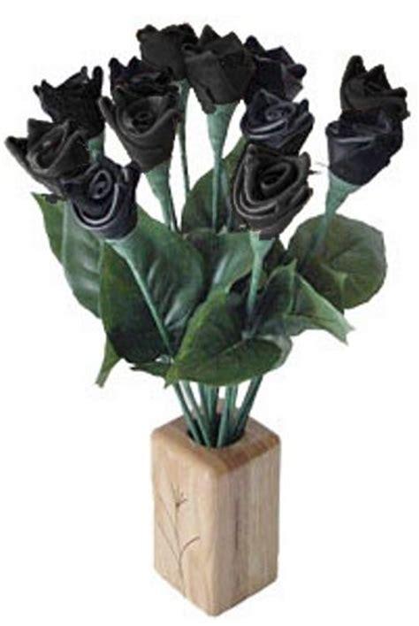 A Dozen Black Roses black leather roses quality leather roses