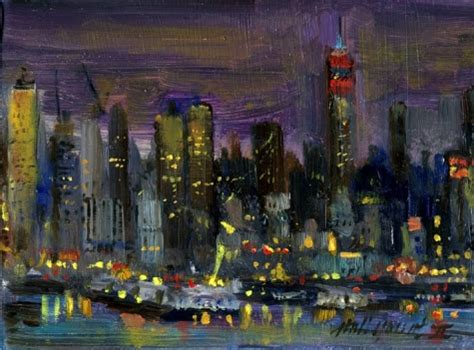 Landscape Artists Buildings Empire State Building Nyc 5x7 Original Painting By
