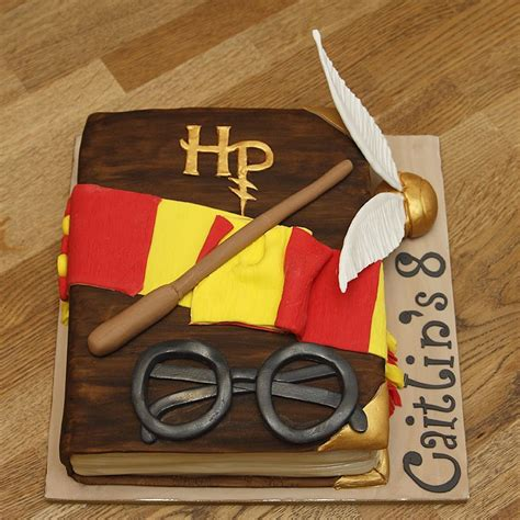 Handmade Harry Potter - harry potter book cake with handmade fondant accessories
