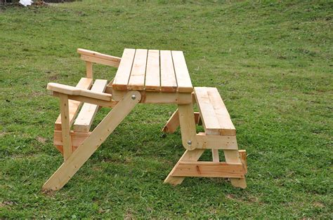 Folding Picnic Table Bench 2 In 1 Wood Folding Picnic Garden Table With Two Benches Ebay