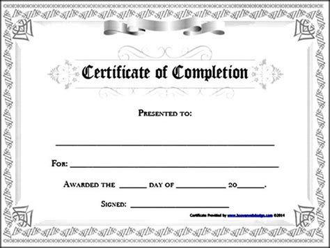 certificate of completion template free exle sle