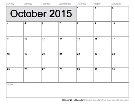 printable planner october 2015 october calendar for 2015 calendar template 2016