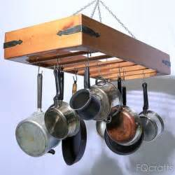 hanging pots and pans from ceiling large wooden hanging pot rack store pots pans and