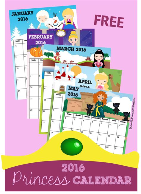 printable calendar 2016 disney 2016 calendar disney princess inspired