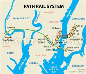 New York Path Map by Path Port Authority Trans Hudson Map Lines Route