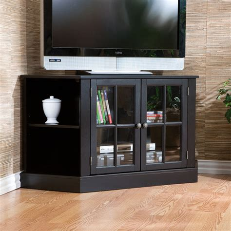Tv Cabinet With Glass Doors Tv Stand With Glass Cabinet Door And Corner Shelves Decofurnish