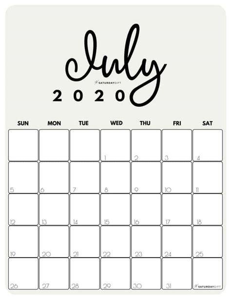 cute  printable july  calendar saturdaygift