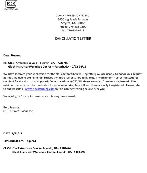 bond cancellation letter format glock announces course cancellations gpstc