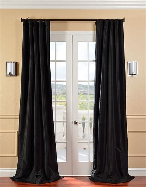 black satin curtains black silk curtains java 3inch lined faux silk curtains