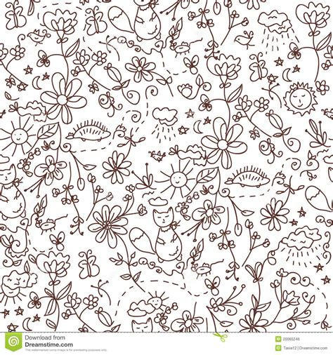 doodle nature nature seamless doodle royalty free stock image image