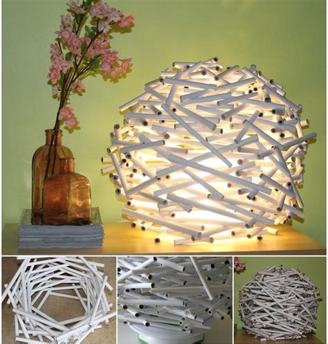 Handmade Light - diy basket woven from recycled newspaper