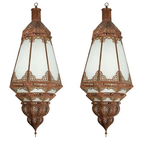 Moroccan Light Fixtures Pair Of Moroccan Vintage Glass Light Fixtures At 1stdibs
